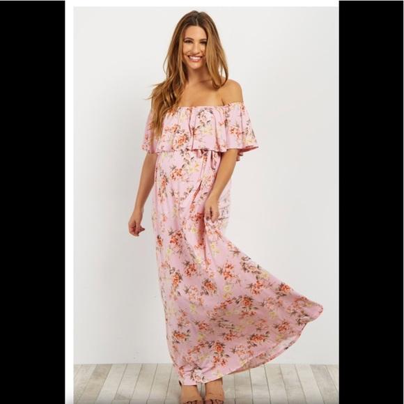 8ed195453803 Pinkblush Dresses | Floral Off Shoulder Maternity Maxi Dress | Poshmark